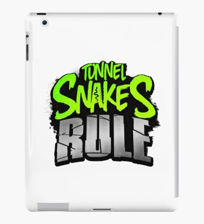 """Tunnel Snakes Rule"" Cool Typography Videogame T-Shirt Design iPad Case/Skin"