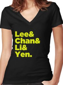 Chinese Martial Arts Legends Women's Fitted V-Neck T-Shirt