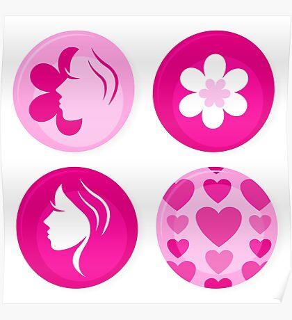 Pink femine symbols or badges. Original Illustration. Poster
