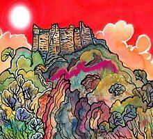 Red Sky, Carreg Cennen Castle by Dorian Davies