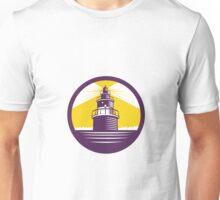 Lighthouse Circle Woodcut Unisex T-Shirt