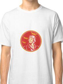 World War 2 Pilot Airman Fighter Plane Circle Retro Classic T-Shirt