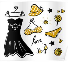 Old - yellow designers fashion for woman. Art is original hand-drawn Poster
