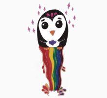 Penguin Floating Rainbow Kids Tee