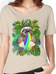 Sloth Spitting Rainbow Colors Women's Relaxed Fit T-Shirt