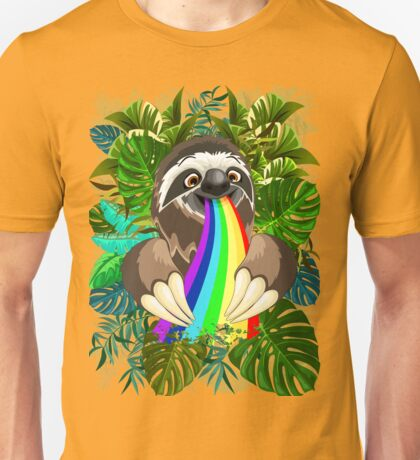 Sloth Spitting Rainbow Colors Unisex T-Shirt