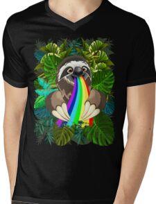 Sloth Spitting Rainbow Colors Mens V-Neck T-Shirt