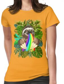 Sloth Spitting Rainbow Colors Womens Fitted T-Shirt