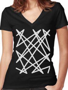 White Lines Women's Fitted V-Neck T-Shirt