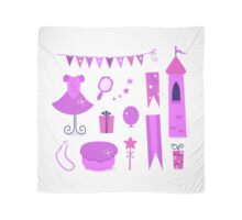 Princess party icons and elements set. Purple Scarf