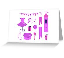 Princess party icons and elements set. Purple Greeting Card