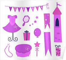 Princess party icons and elements set. Purple Poster