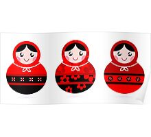Traditional russian Matrioshka dolls : red and black Poster