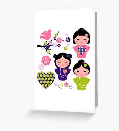 Little love Geishas, love design elements Greeting Card