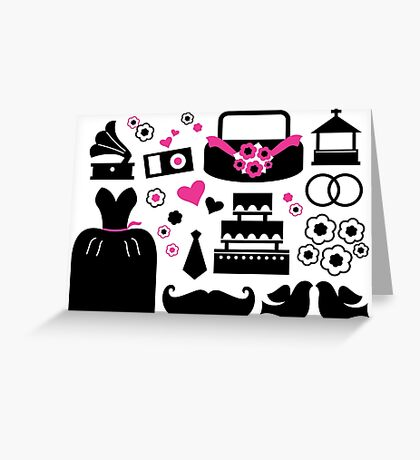 Wedding items silhouette - black and pink Greeting Card