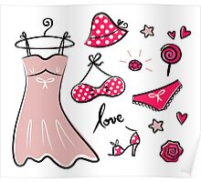 Vector doodle set of pink fashion accessories / old-fashion dots Poster