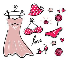 Vector doodle set of pink fashion accessories / old-fashion dots Photographic Print