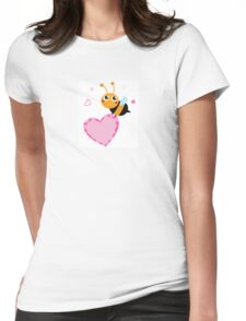 Happy cute Ladybug with pink heart : adorable design Womens Fitted T-Shirt