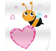 Happy cute Ladybug with pink heart : adorable design Poster