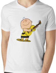 Charlie Brown Guitar Mens V-Neck T-Shirt