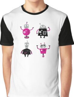 Cute cartoon robot characters : pink and black  Graphic T-Shirt