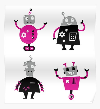Cute cartoon robot characters : pink and black  Poster