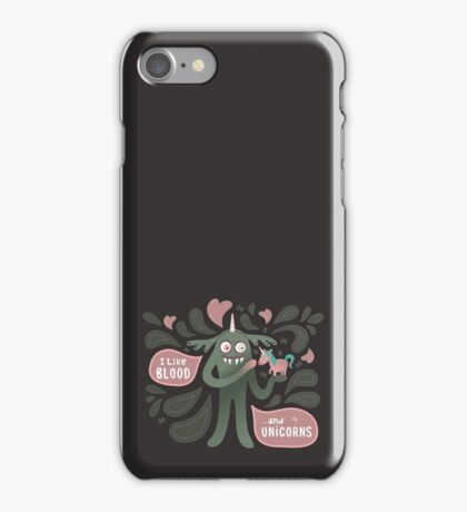 Spooky vampire monster with unicorn iPhone Case/Skin