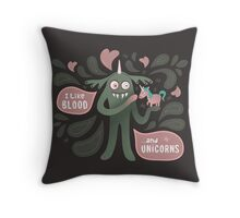 Spooky vampire monster with unicorn Throw Pillow