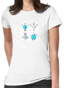 Cute cartoon robot characters. Old - vintage style robots Womens Fitted T-Shirt