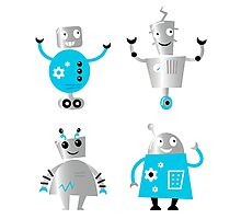 Cute cartoon robot characters. Old - vintage style robots Photographic Print