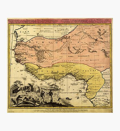 Old Map of West Africa circa 1743 Photographic Print