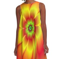 Red Yellow Green and Orange Flower A-Line Dress