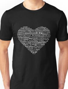 Love of Languages, White on Black Unisex T-Shirt