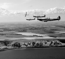 White Cliffs Spitfires black and white version by Gary Eason + Flight Artworks