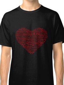 Love of Languages, Red on Black Classic T-Shirt
