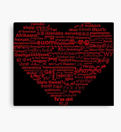 Love of Languages, Red on Black Canvas Print