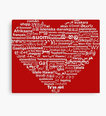 Love of Languages, White on Red Canvas Print