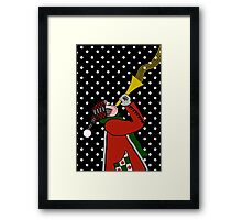Trumpet Blowing in Snow Storm, Christmas  Framed Print