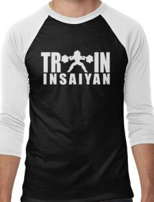 TRAIN INSAIYAN - Vegeta Squat Silhouette (White Print) Men's Baseball ¾ T-Shirt