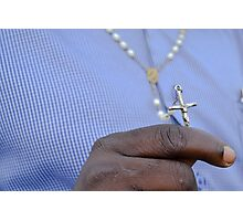 man and crucifix Photographic Print