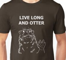 Live Long and Otter, White on Brown Unisex T-Shirt