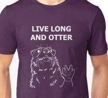 Live Long and Otter, White on Purple Unisex T-Shirt