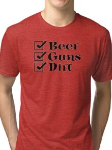 BEER GUNS DIRT Checklist Tri-blend T-Shirt
