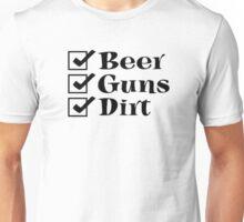 BEER GUNS DIRT Checklist Unisex T-Shirt