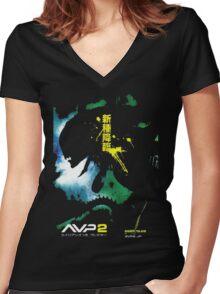 Alien Vs. Predator 2 Japan Poster Women's Fitted V-Neck T-Shirt