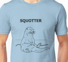 Squotter, Black on Blue Unisex T-Shirt