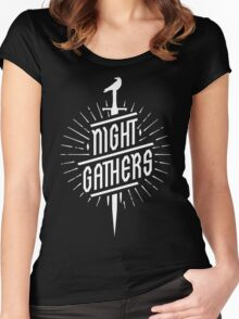 Night Gathers - White Logo Women's Fitted Scoop T-Shirt