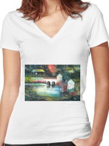 Festival of Lights Women's Fitted V-Neck T-Shirt