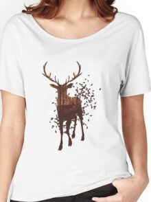 Autumn Forest Landscape and Deer Women's Relaxed Fit T-Shirt
