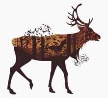 Autumn Forest Landscape and Deer 2 One Piece - Short Sleeve